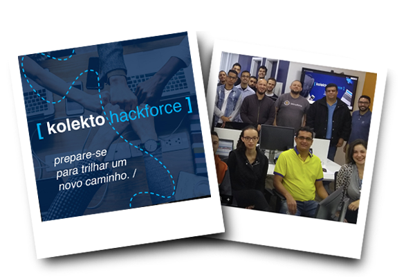 imagem de fotos polaroid com participantes do kolekto hackforce